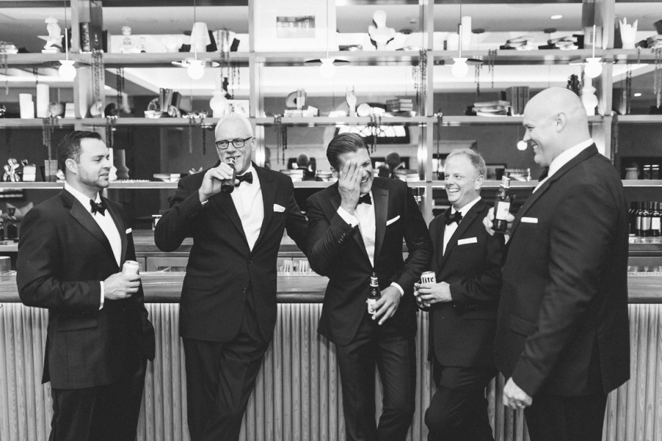 Groomsmen at the bar The Guild Hotel San Diego