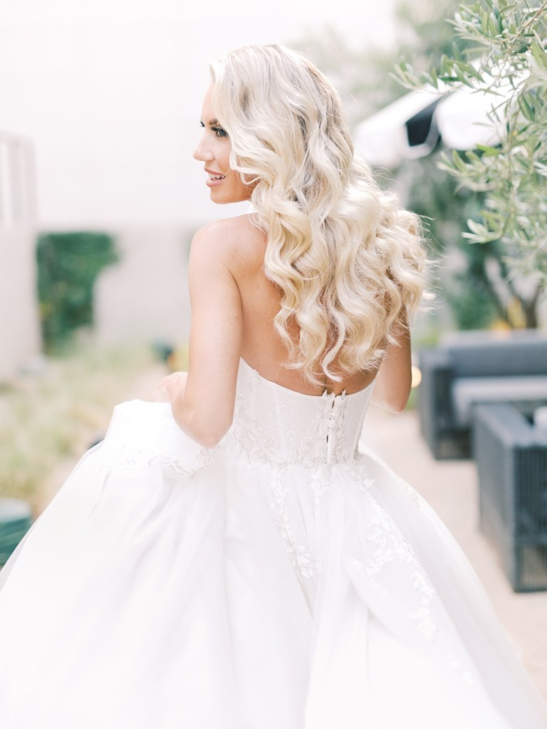 Beautiful bridal hair inspiration at The Guild Hotel San Diego wedding venue | Shot on film by Mandy Ford Photography