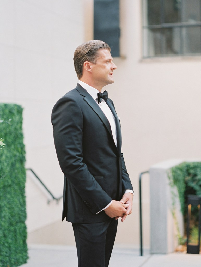 Groom's reaction to bride at San Diego wedding at The Guild Hotel | Shot on film by Mandy Ford Photography