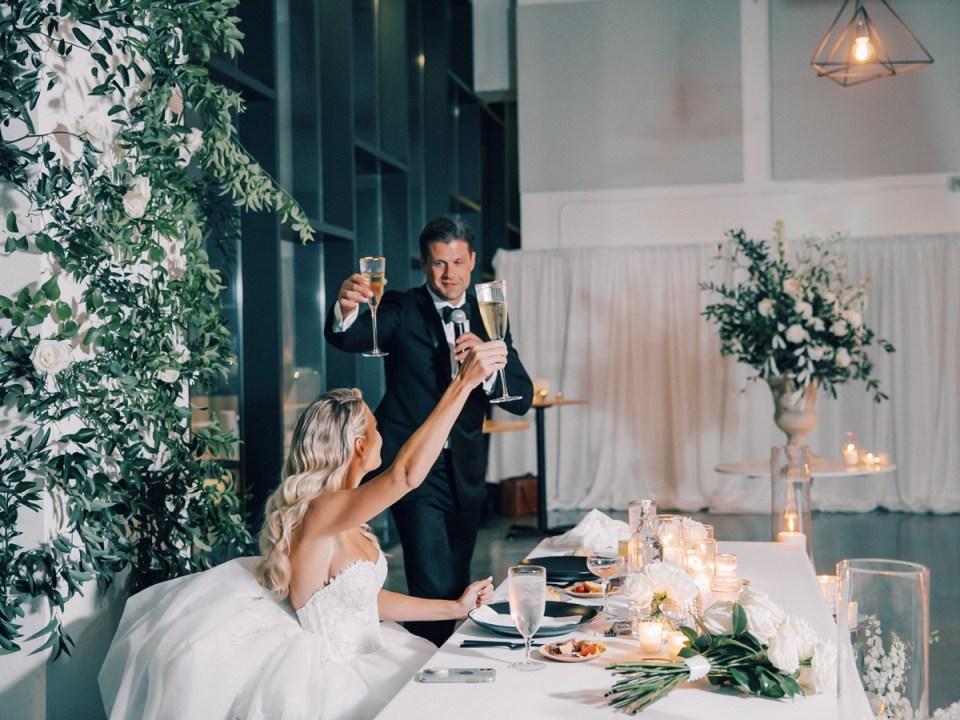 Couple Toasting at The Lane Downtown San Diego wedding venue
