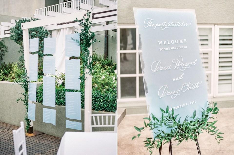 Coastal Seating Chart Idea Wedding Details in Dusty Blue at L'Auberge Del Mar Wedding