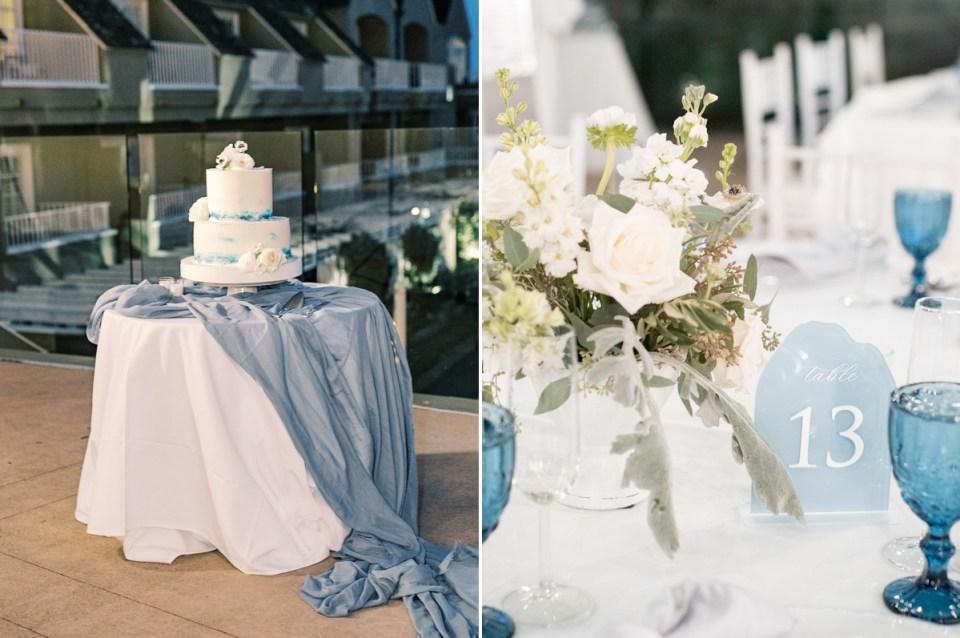 Dusty Blue Modern Coastal Wedding Table Numbers at L'Auberge Del Mar