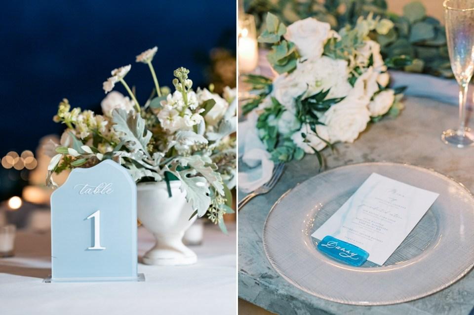 Dusty Blue Modern Coastal Wedding Table Decor at L'Auberge Del Mar