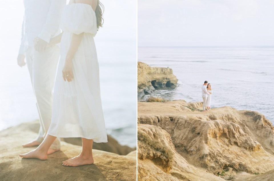 Sunset Cliffs Elopement Inspiration Light And Airy Engagement Photos