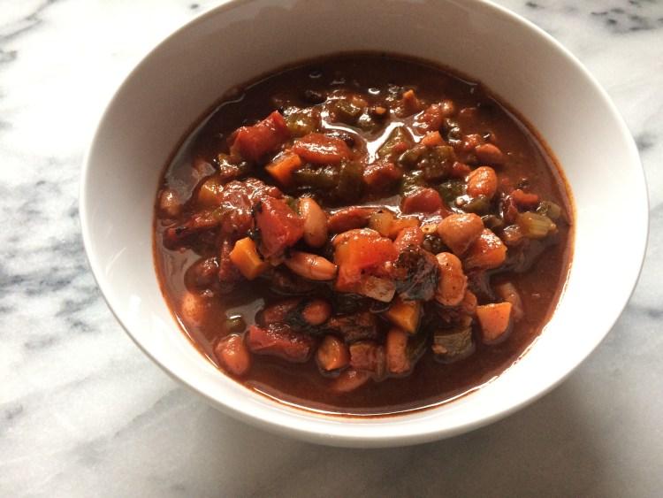 A bowl of vegetarian chili