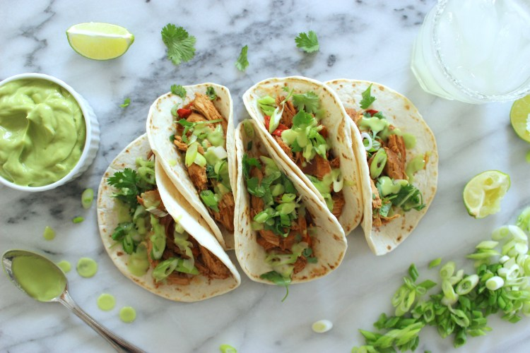 Chipotle Chicken Tacos with Avocado Lime Crema