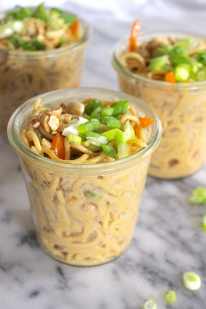 Asian noodles packed in jars
