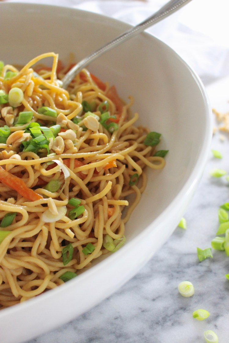 Cold Asian noodles in peanut sauce