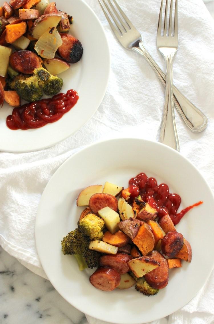 Roasted kielbasa, broccoli, sweet potato with ketchup