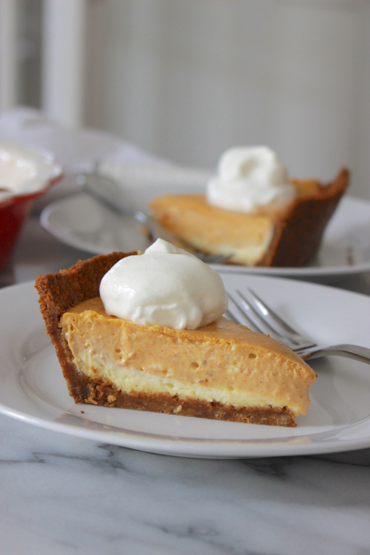Double Layer Pumpkin Cheesecake with Gingersnap Cookie Crust
