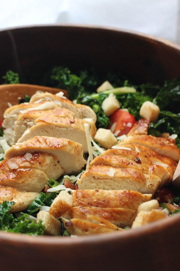Warm Kale Salad with Garlic Chicken
