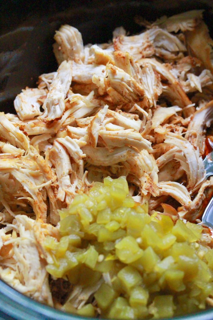 THE BEST shredded Mexican chicken in the slow cooker. Good in tacos, enchiladas, fajitas, quesadillas, burritos, or in salads! Chicken breasts and homemade Mexican seasoning cook in the crock pot with green chiles for an easy Mexican chicken.