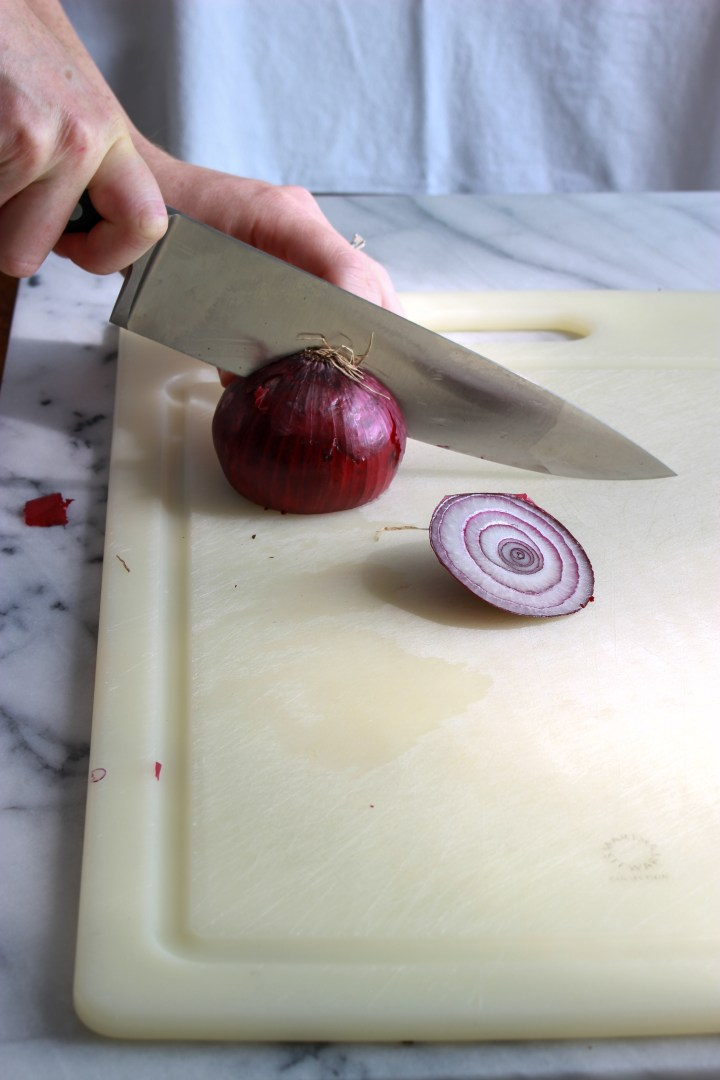 cut onion in half through the root