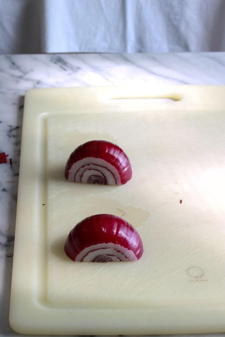 place onion halves cut-side down