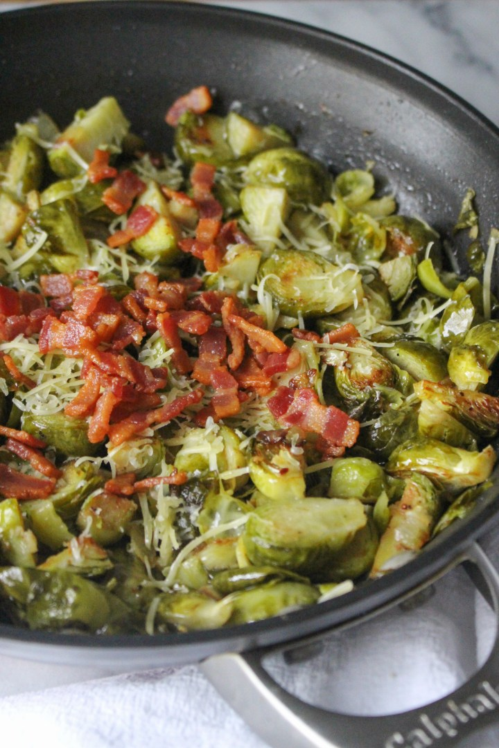 Bacon Braised Brussels Sprouts with Vinegar and Bacon