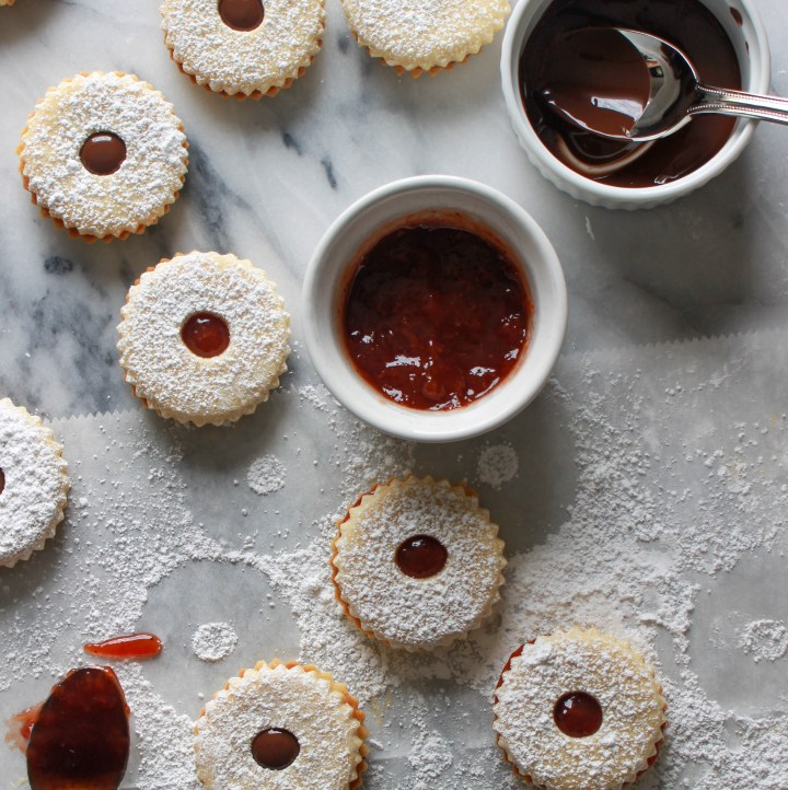 Shortbread Linzer Cookies with Fruit and Chocolate