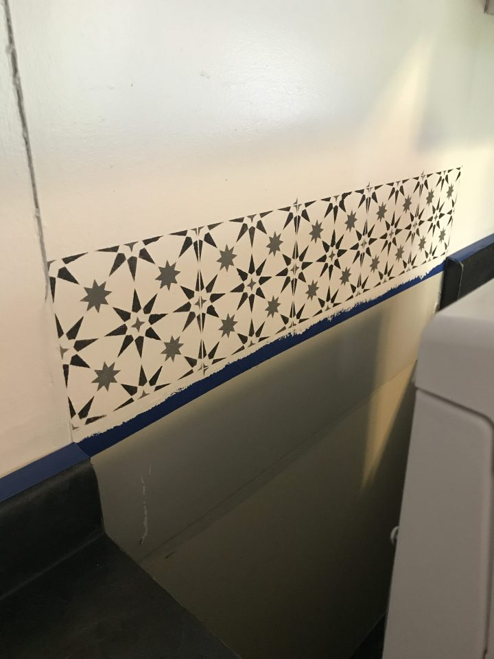 stenciling behind stove