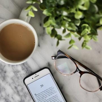 reading ebooks, drinking coffee