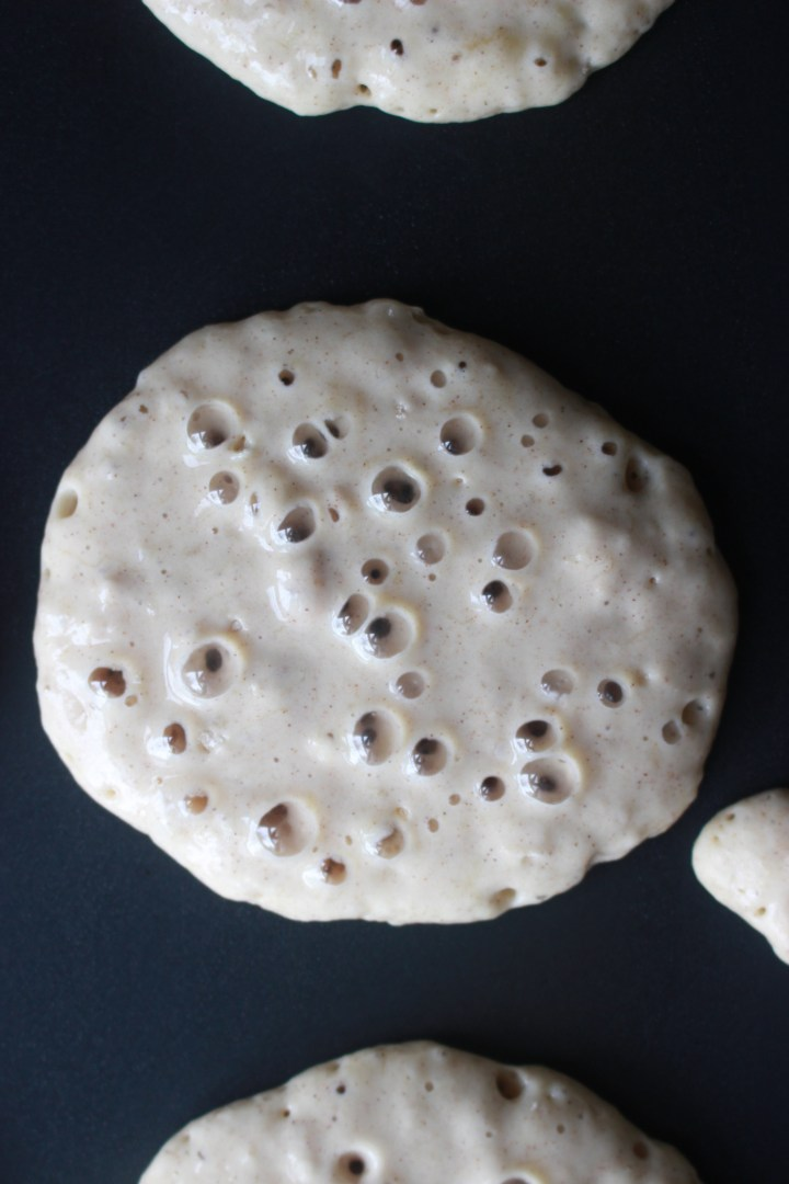 lots of bubbles means pancakes are ready to be flipped