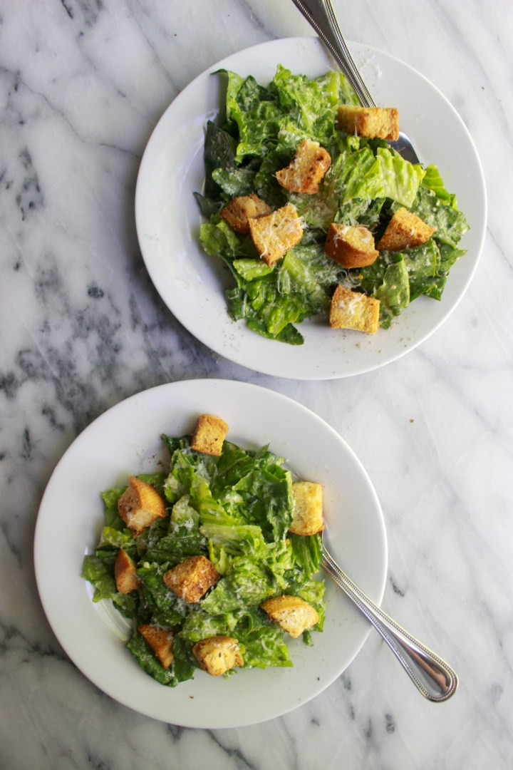 caesar salads with croutons