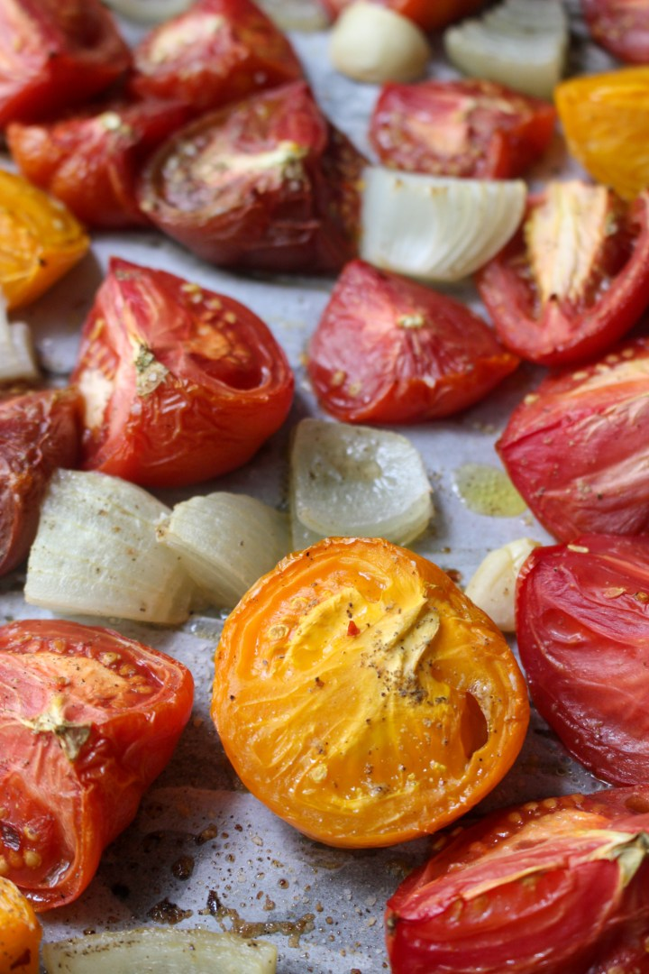 roasted tomatoes and onions for tomato soup