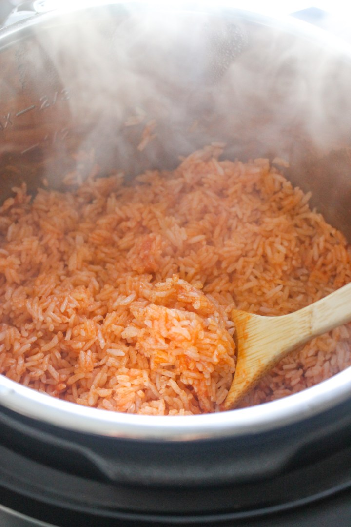 fluffing cooked spanish rice in the instant pot