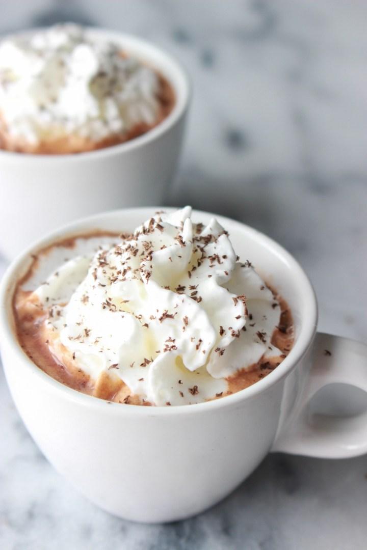 creamy hot chocolate in mugs