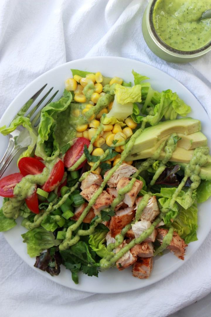 avocado dressing on salad