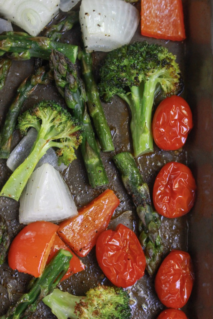 roasted vegetables on sheet pan for pasta