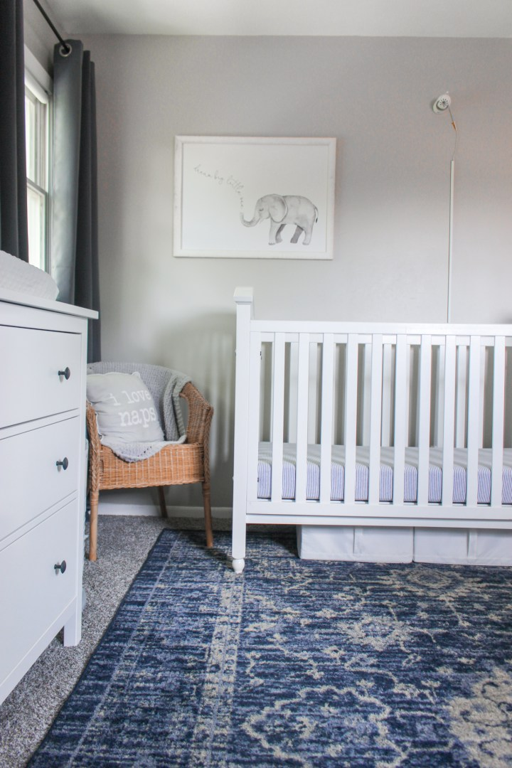 crib in shared nursery and toddler room