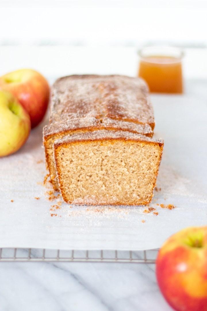 sliced apple cider donut loaf