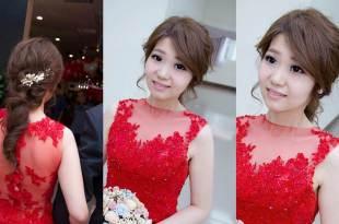 高雄新秘│紅色禮服=好媳婦印象?就是要高質感氣質編髮│珍琳蘇婚紗