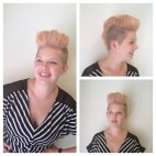 "Stephanie's favorite. Blush pink mohawk. ""Oooh that was the first mohawk, the one that we styled more like La Roux. That rose color was super fun, too, because it looked different depending on the time of day and the lighting."""