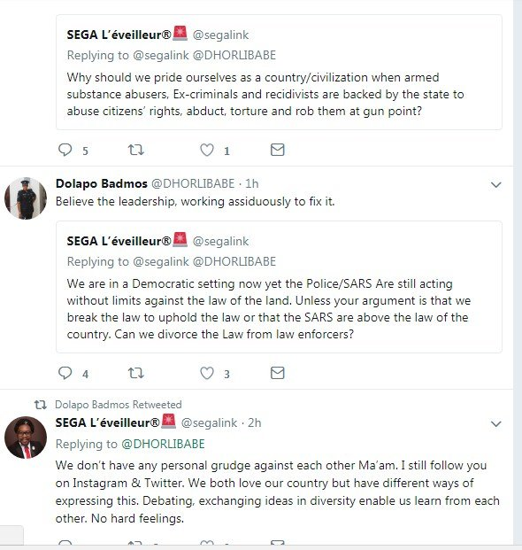 screenshot_8 Founder Of #ENDSARS Movement And CSP Opetodalopo Badmus Exchanges Words Online