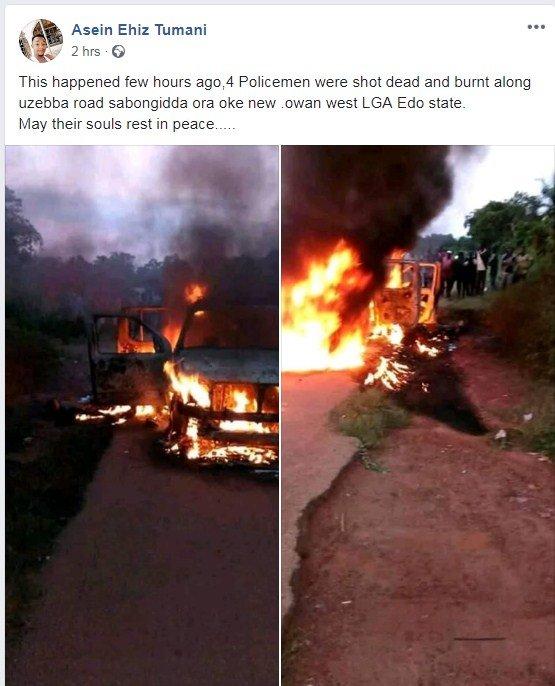 screenshot_2 4 Policemen Shot Dead And Their Car Set Ablaze In Sabo, Edo State (Photos)