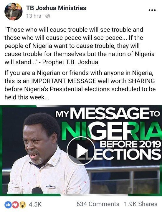 8741792 cymera20190212082657 jpeg32c27467e90757126fa8780cb9e4368f199759535 1 - 2019 Elections: See Prophet TB Joshua's Message For Presidential Elections