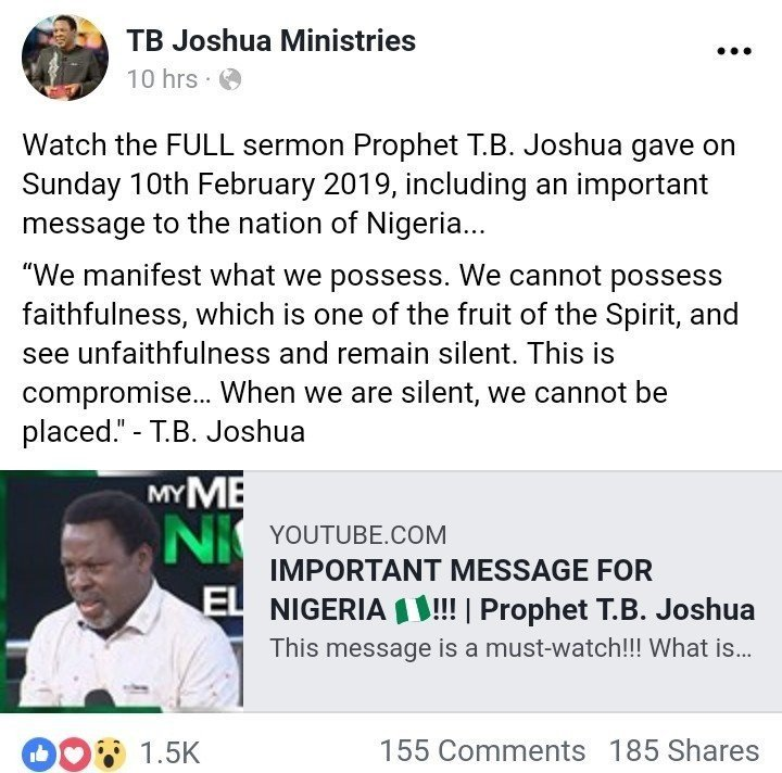 8741793 cymera20190212082717 jpeg850fe56f02b16bfa8477be21c63b5428531023428 1 - 2019 Elections: See Prophet TB Joshua's Message For Presidential Elections