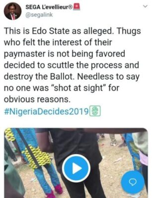 8855058 img20190224190349853 jpega6185bdad3af3d95f98e5f5822b23686 - Thugs Attack INEC Collation Center In Edo, Destroy Election Materials (Photos)