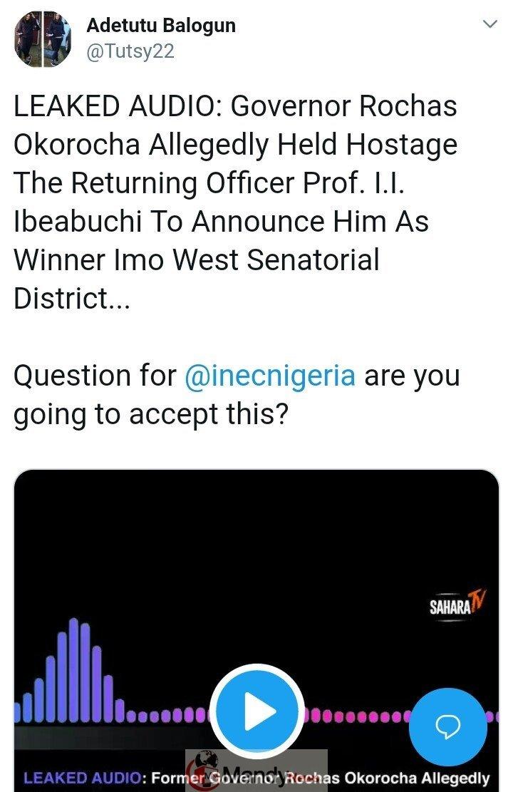 """8863265 img20190225201417939 jpegd2124d1d6c09dd8cedf5a250ca4b3403 - Leaked Audio: """"I'm Calling This Result Under Duress"""" - Prof. Declares Okorocha Winner"""