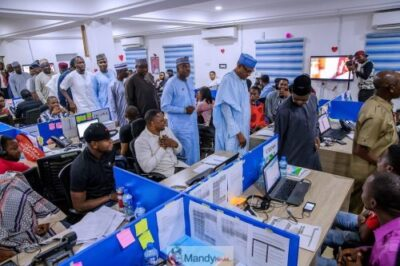 D0RoTCRX0AYq2Bb 1024x683 - President Buhari Visits APC Situation Room In Abuja (Pictures)