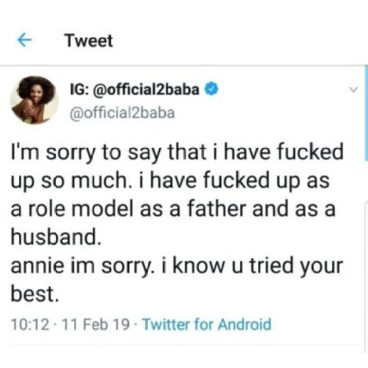 dzhivvqwsaalqr5600549709 2face Apologizes To Wife, Annie Idibia For Disappointing Her (See Tweets)