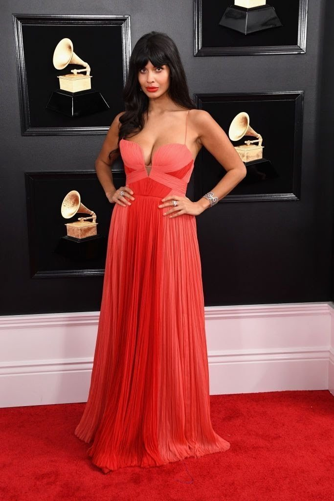 jameela-jamil-attends-the-61st-annual-grammy-awards-at-news-photo-1097524526-15498454251020807098 All Grammys 2019 Red Carpet Celebrity Dresses & Looks (Photos)