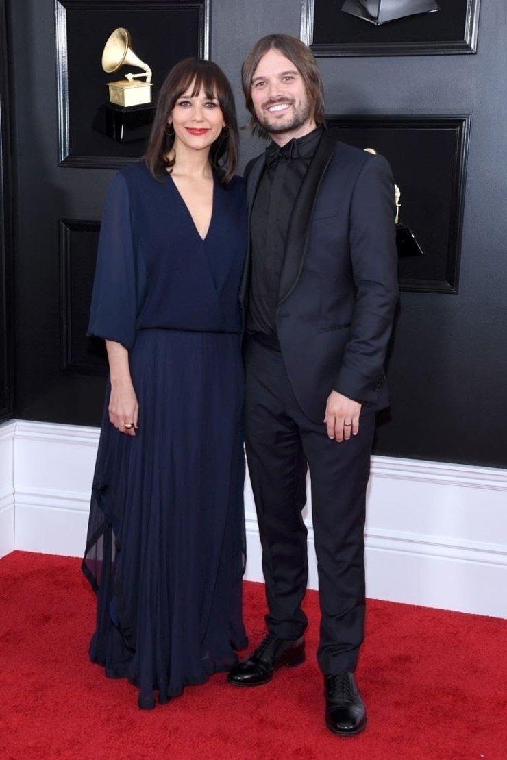 rashida-jones-and-alan-hicks-attend-the-61st-annual-grammy-news-photo-1097439964-15498397452019561388 All Grammys 2019 Red Carpet Celebrity Dresses & Looks (Photos)