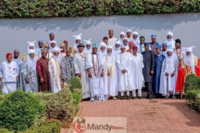 8926950 526242395918569646467701533232628040505024n jpeg01ba946a4895b7b4edc4875c1cbda2da - President Buhari Receives A Congratulatory Visit From Traditional Rulers (Pics)
