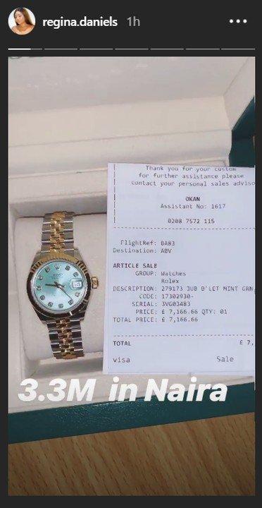 9060151 11 jpegf7f163af78812e58c4d3c47b4e396ae6 - Regina Daniels Reveals Off Her Newly Acquired N3.3M Rolex Watch