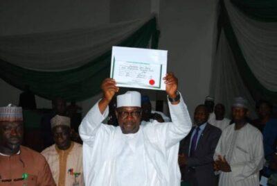 9066817 fbimg1553707814683 jpegd2d1cd9b191612afa63fd8de70298c6a - INEC Presents Certificates Of Return To Governor Sani Bello Of Niger State