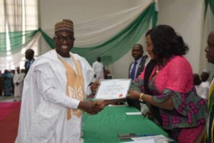 9066818_img20190327140742_jpegdc0a88081fd287411e6b89a4130580da INEC Presents Certificates Of Return To Governor Sani Bello Of Niger State