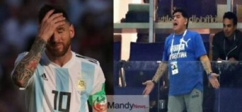 lionel-Messi-and-maradona-crying Maradona Blasts Lionel Messi And Argentina Team After 3 – 1 Defeat By Venezuela