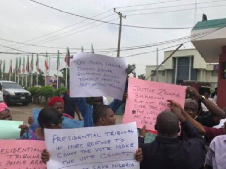 9384440_pdp2_jpegacd81108ba07a4c8608a8f950d73df8e PDP Staff Protest Against Election Tribunal Chairman, Zainab Bulkachuwa (Photos)