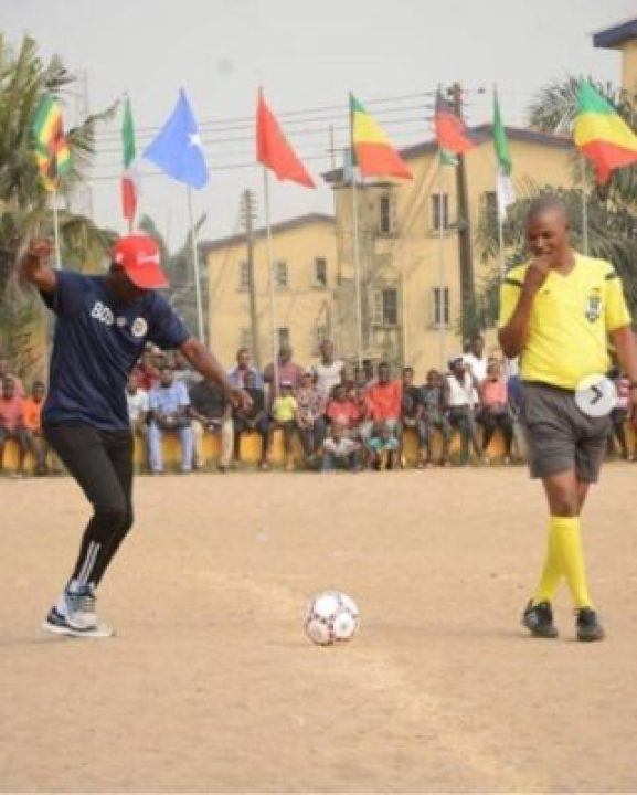 9593975_screenshot20190610101306_jpeg08c4ce549a79dd60ce959d21a61528cf Lagos State Governor, Sanwo-Olu Pictured Playing Football On The Pitch